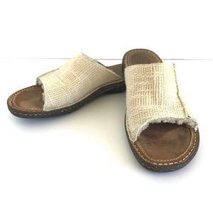 UGG Australia Leather Linen Slides Sandals 9M